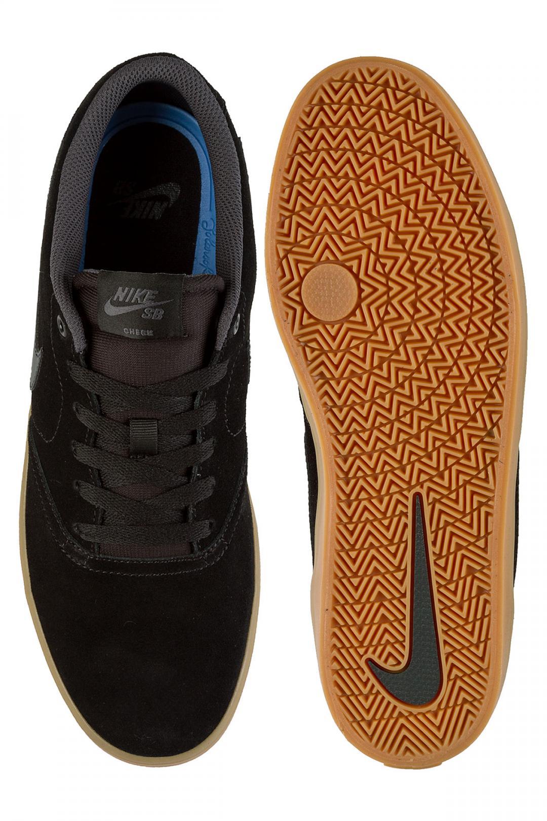 Uomo/Donna Nike SB Check Solarsoft black anthracite gum light brown | Sneaker