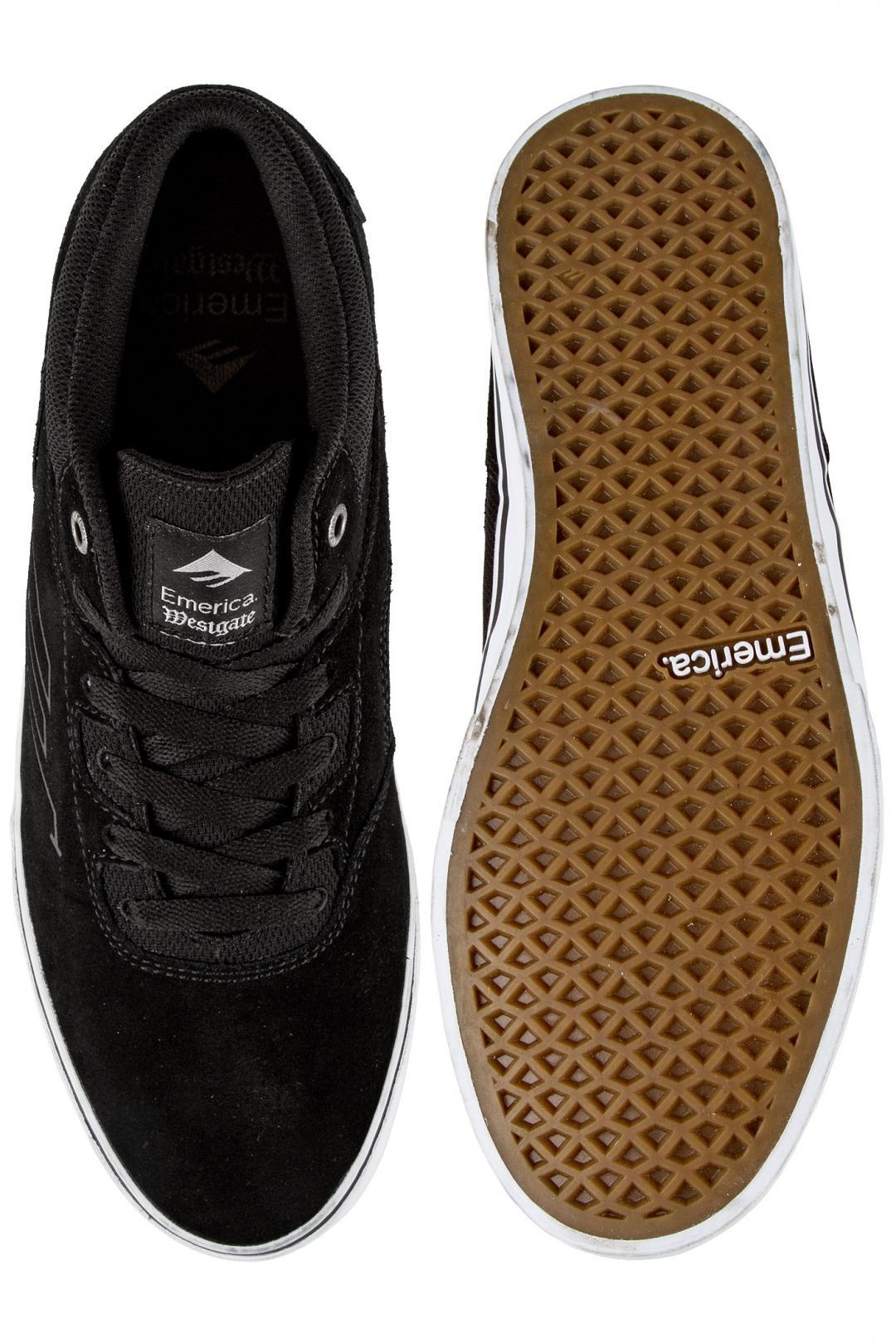 Uomo Emerica The Westgate Mid Vulc Suede black white | Sneaker