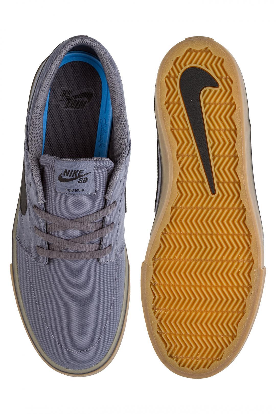Uomo Nike SB Solarsoft Portmore II Canvas dark grey black gum | Sneakers low top