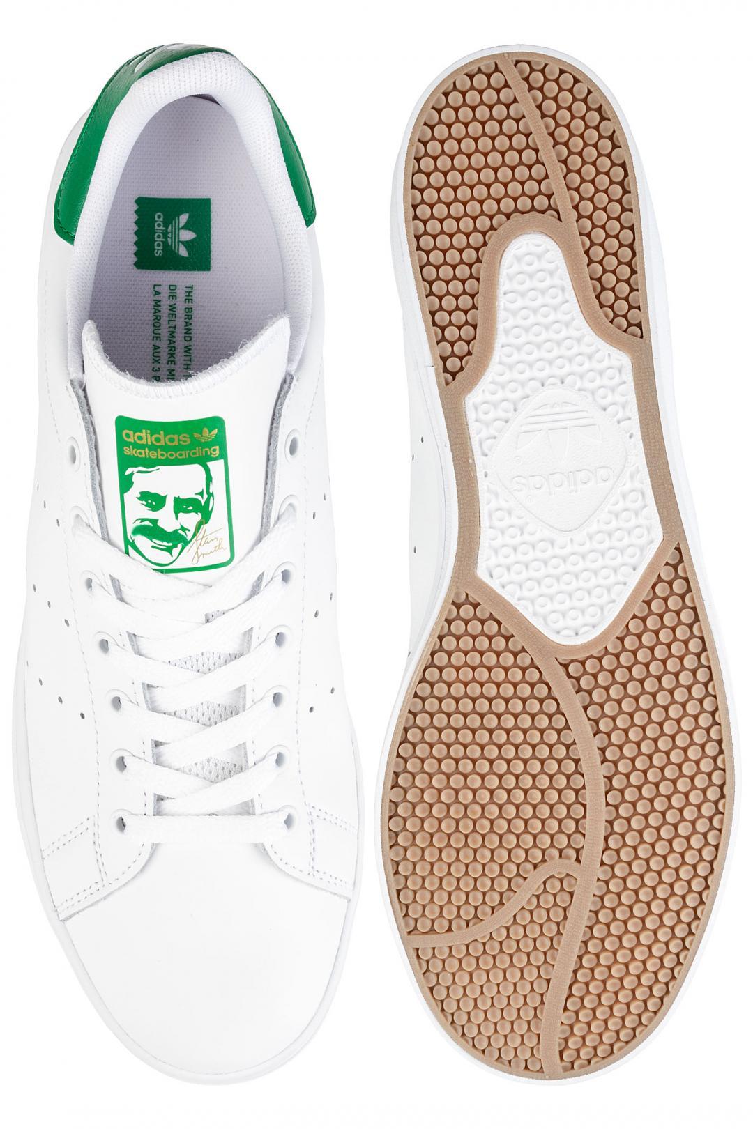 Uomo adidas Skateboarding Stan Smith Vulc white white green   Scarpe da skate