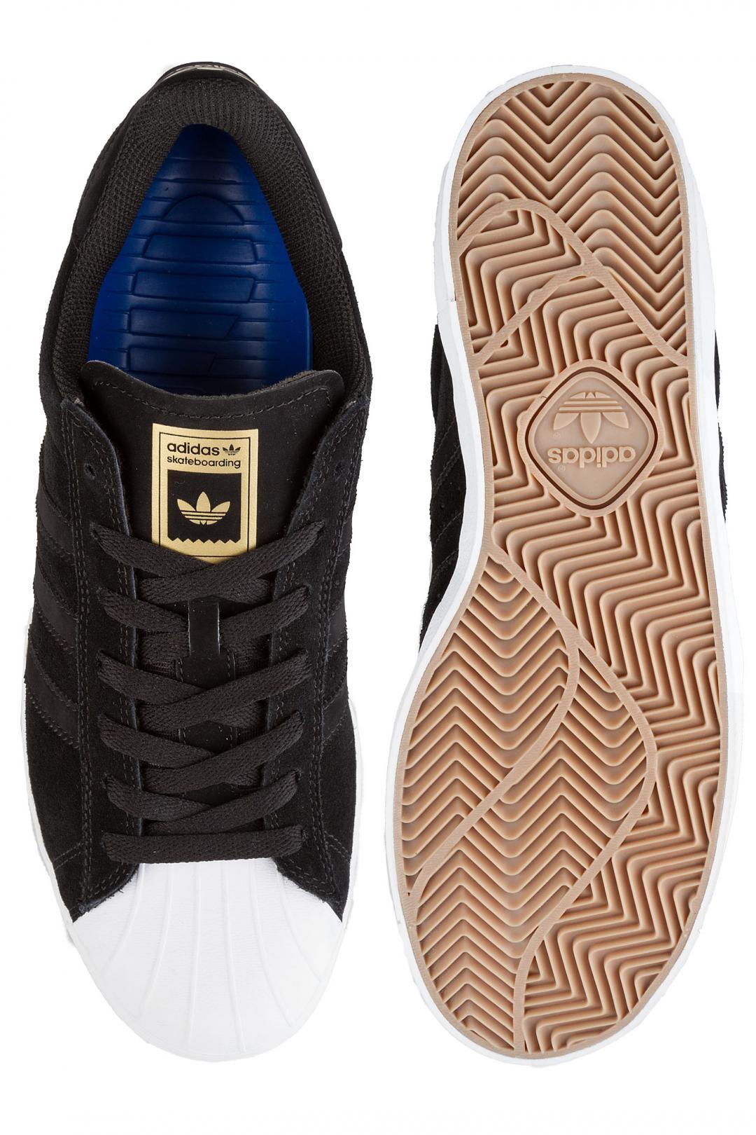 Uomo adidas Superstar Vulc ADV core black white gold | Scarpe da skate