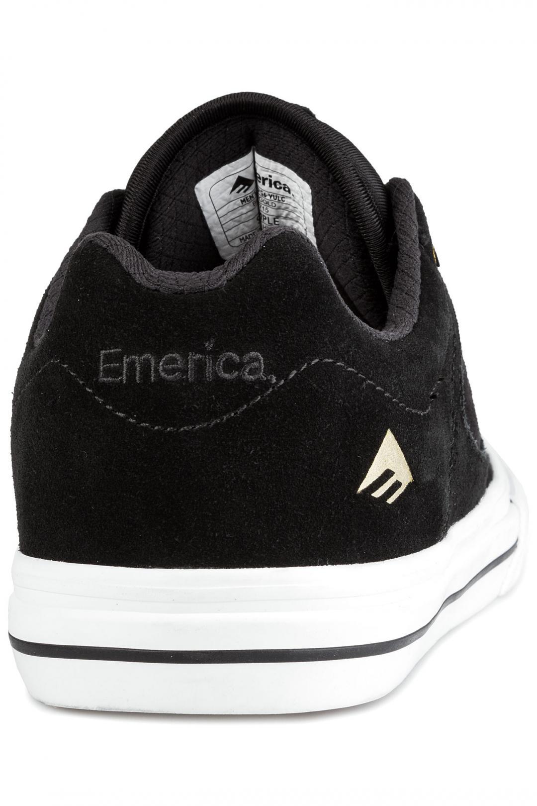 Uomo Emerica Reynolds 3 G6 Vulc black white gold | Scarpe da skate