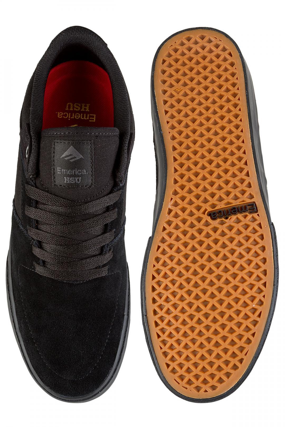 Uomo Emerica The HSU Low Vulc black black | Sneakers low top