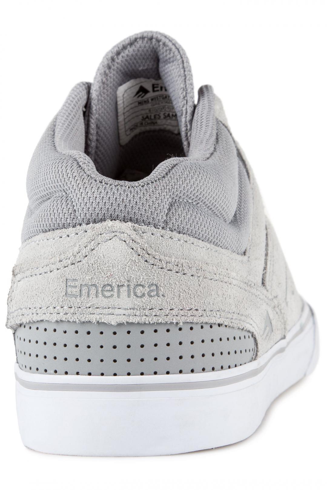 Uomo Emerica The Westgate Mid Vulc grey white   Scarpe da skate
