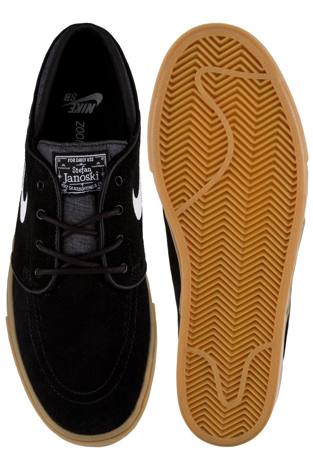 Uomo Nike SB Zoom Stefan Janoski black white gum light brown | Sneakers low top