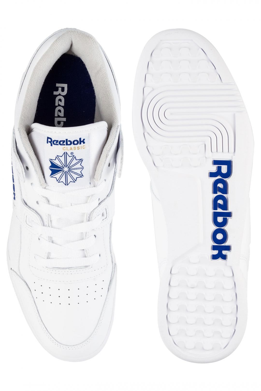 Uomo Reebok Workout Plus white blue   Scarpe da skate