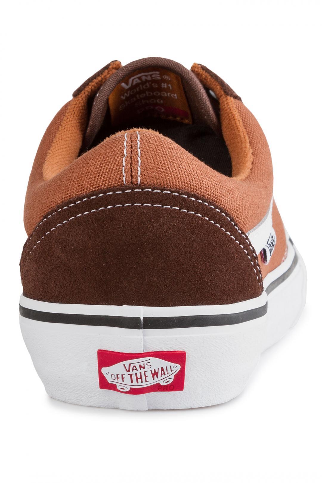 Uomo Vans Old Skool Pro potting soil leather brown   Scarpe da skate